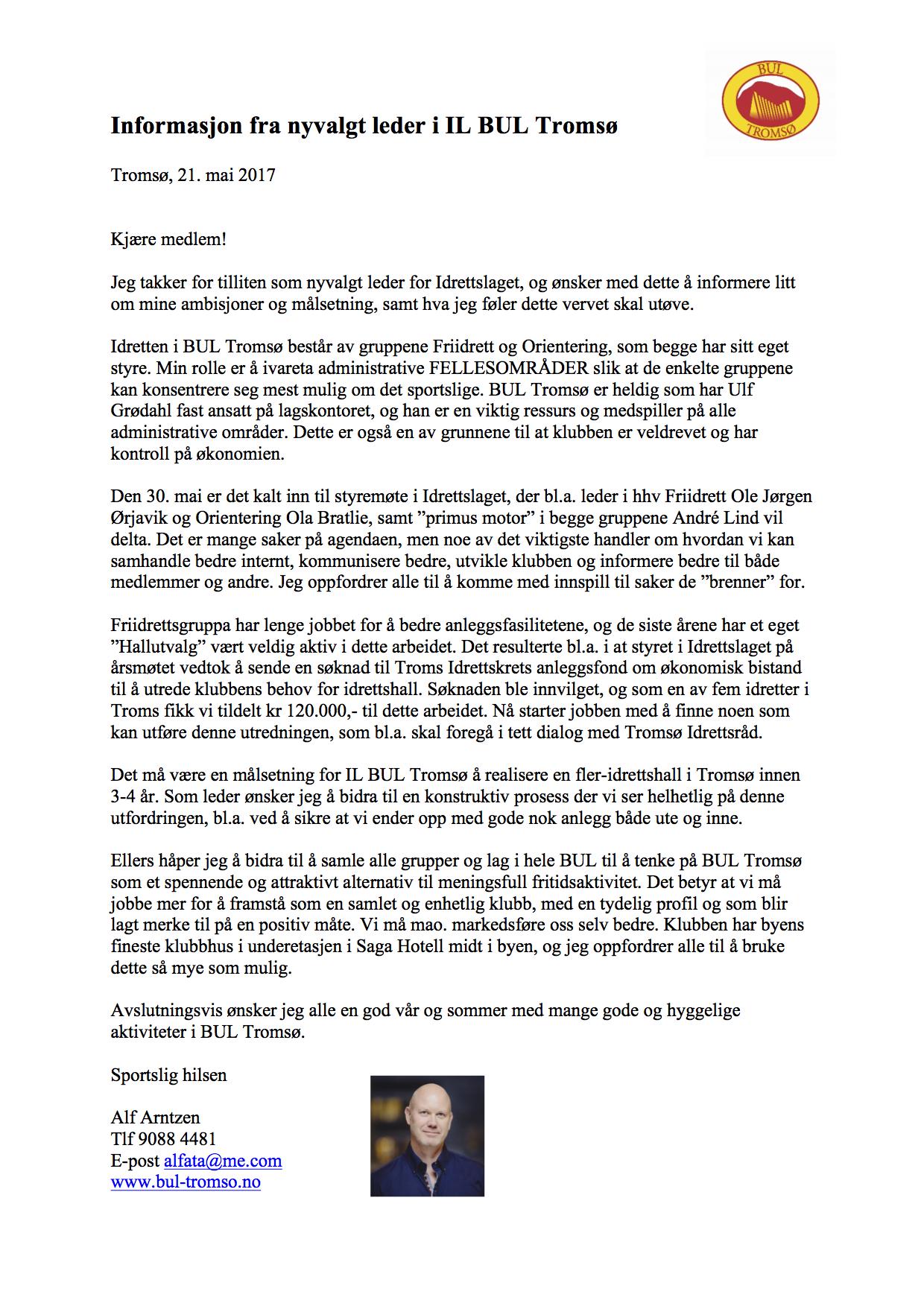 Infobrev fra ny leder - mai 2017